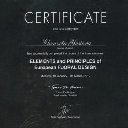 сертификат международной школы флористов, элементы и принципы Европейского флористического дизайна, Елизавета Ястова