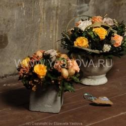 Стабилизированные цветы. Декоративная интерьерная композиция арт. STB0006