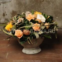 Стабилизированные цветы. Декоративная интерьерная композиция арт. STB1422