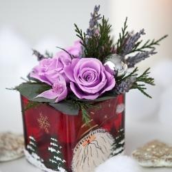 Новогодняя композиция Мини из стабилизированных цветов