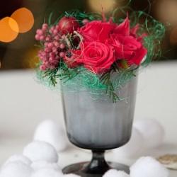 Новогодняя композиция Комплимент из стабилизированных цветов